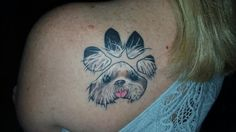 Tattoo his sweet face in his paw print blown up. Thanks John from Threashold. My sweet little man Sonny Bunny. ( shih tzu)