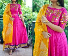 Beautiful pink and yellow color floor length dress with bird and cage embroidery work.Get your dream designs customised with Yellow Kurti .. Here are few works ! whatsapp @ 8686027999 for details. 09 May 2017