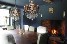 Come on baby light my fire... Blue dining room.