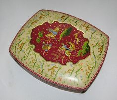 Vtg Scribbans Kemp 1950s biscuit tin Middle Eastern Persian scene Shahnameh VGC