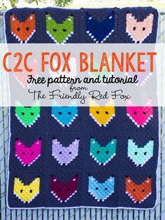 Crochet Patterns Afghans Free Pattern corner to corner Fox Block Blanket. Love all the colors! 20 colorful fox squares later and I have maybe my most favorite thing I ever made. I'm a little bummed that it Crochet Gratis, C2c Crochet, Manta Crochet, Afghan Crochet Patterns, Baby Blanket Crochet, Free Crochet, Knitting Patterns, Crochet Blankets, Crochet Afghans
