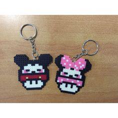 Mickey and Minnie mushroom keychains perler beads by g_beads