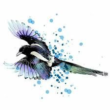 Image result for magpie tattoo watercolour