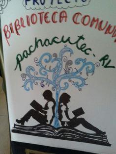 Afiche pintado de niños y adultos leyendo, con rotuladores