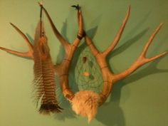 sold Deer Antler Dream Catcher Rabbit Fur Turkey by CydsCreations, $110.00
