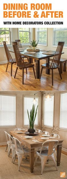 Read how blogger Anna Liesemeyer got a total dining room makeover for a great value with Home Depot's Home Decorators Collection. Her style was brought to life with a few pieces of furniture and decor like the rustic farmhouse-style Highland Dining Table, modern Garden Side Chairs, and industrial Polished Chrome Pendant Lights. Visit our blog for inspiration and ideas on how to decorate your house or apartment.