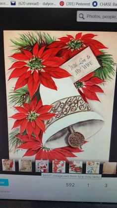 Anna Q Photo, Anna Griffin Cards, Christmas Poinsettia, Vintage Cards, Vintage Christmas, Embellishments, Christmas Cards, Gift Wrapping, Crafts