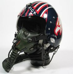 From Top Gun, Maverick's flight helmet. A HGU-33 with a custom paint and tape job. For when you feel the need for speed.