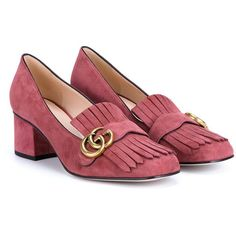 Gucci Suede Mid-Heel Pumps featuring polyvore, women's fashion, shoes, pumps, gucci pumps, mid heel shoes, summer shoes, long shoes and suede shoes