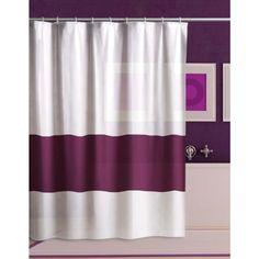 DUSCHVORHANG weiß mit lila Absatz 120cm breit x 180cm lang mit Ringe VINYL shower curtain