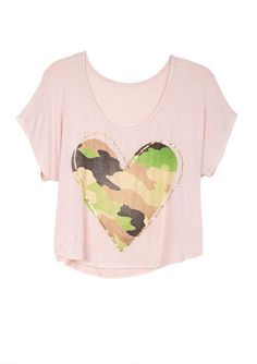 Camouflage Heart Tee   ON CLEARANCE at Delia's.com