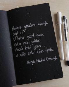 """""""Kalbi ise Allah'ı zikretmek güzelleştirir."""" . Neden Allah'ı zikreden bir kalp olmayayım dedin mi hiç?.. #huzeyfemucahid Allah Islam, Galaxy Wallpaper, Deep Thoughts, Book Quotes, Cool Words, Karma, Literature, Poems, Notebook"""