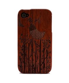 Bird Engraved Rosewood iPhone4/4s Wood Case