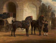 Two Black Coach Horses with a Coachman, 1791, by George Garrard (1760-1826)