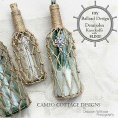 Knotted Jute bottles (do with mason jars and use as candle holders for a deck)