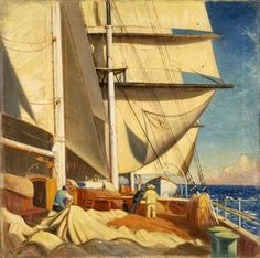 Mending Sails on the Deck of the Birkdale John Everett, 1920 National Maritime Museum, Greenwich, London Object ID Poop Deck, Nautical Artwork, Maritime Museum, Coastal Art, Sketch Painting, Art Uk, Art For Art Sake, Ship Art, Learn To Paint