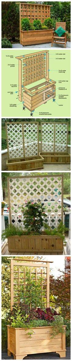 DIY Planter Box with Climbing Trellis.