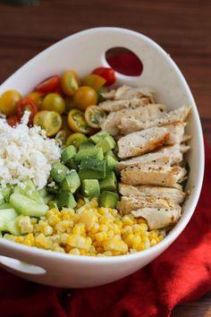 Summer Salad with Chicken, Corn, Tomato, Avocado, Cucumber, & Feta. No avocado for me!