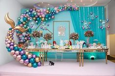 Enthralling combined quinceanera party planning Sign me up now Mermaid Theme Birthday, Little Mermaid Birthday, Little Mermaid Parties, Little Mermaid Decorations, Birthday Party Decorations, Birthday Parties, Party Themes, Mermaid Balloons, Quinceanera Themes