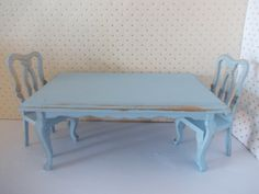 Table and Two chairs hand painted Blue by SmallthingsbyAmanda