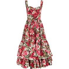 Dolce & Gabbana Ruffled floral-print cotton-poplin dress ($2,385) ❤ liked on Polyvore featuring dresses, floral circle skirt, flared skirt, floral print dress, red flared skirt and circle skirt