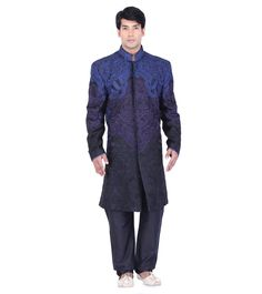 Black, purple and blue embroidered long coat Wedding Sherwani, Embroidered Silk, Indian Ethnic, Purple, Blue, Coat, Study, Men, Clothes