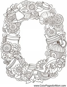 Tea & Coffee Wreath - coffee coloring page 8 ColorPagesForMom.com