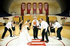 assembly hall -- and a bridal party big enough to fill all the spots of 2 basketball teams IM SO DOING THISSS Basketball Engagement Photos, Basketball Wedding, Sports Wedding, Love And Basketball, Basketball Teams, Basketball Boyfriend, Basketball Skills, Wedding Wishes, Wedding Pictures