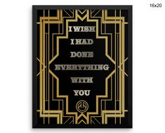 Deco Wall Art Framed Gatsby Canvas Print Deco Framed Wall Art Gatsby Poster Deco gatsby quote gold black silver art deco Print Decor #canvas #frame
