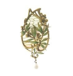 AN ART NOUVEAU ENAMEL AND PEARL BROOCH, BY LOUIS AUCOC