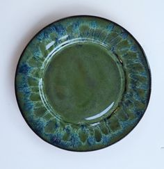 Plate - Linda Neubauer  Blue Midnight x 2, Seaweed x 2, Oatmeal zigzagged on the rim