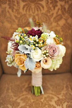 Meadow flower bride's or attendant's bouquet with Dusty Miller accent.