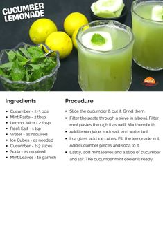 Cucumber Lemonade - Healthy Summer Drink | Tasted Recipes Cucumber Lemonade, Healthy Summer, Summer Drinks, Recipe Cards, Recipes, Summer Beverages, Ripped Recipes, Cooking Recipes