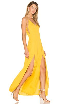 Gina Plunging Maxi Dress in Goldenrod
