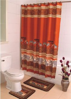 NAGALA AFRICA FABRIC SHOWER CURTAIN COVERED RINGS AREA RUG CONTOUR SET