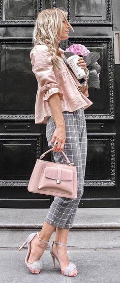stylish look_blouse + plaid pants + bag + heels