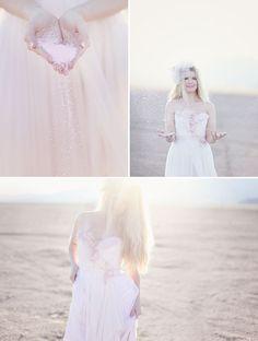 A Love Shoot in the Desert: A Pale Pink Wedding Dress