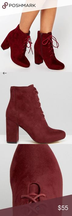 """NWT ASOS Burgundy vegan suede lace up ankle boots NWT ASOS Burgundy vegan suede block heel lace up ankle boots.  Very comfy with the platform and block heels!SHOES by London Rebel Faux-suede upper Zip fastening to inner foot Lace-up front Almond toe Concealed platform sole High block heel Heel height: 9cm/4"""" ASOS Shoes Ankle Boots & Booties"""
