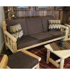 The Lakeland Cedar Log Sofa is made from Northern White Cedar. This contemporary sofa will fit any decor, whether at a rustic lodge, log cabin, country cottage, or lakeside retreat. Cedar Furniture, Modular Furniture, Pallet Furniture, Rustic Furniture, Furniture Design, Furniture Ideas, Furniture Stores, Italian Bedroom Furniture, Living Room Furniture