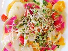 "Carpaccio of scallops and Kiyomi Kiyomi = sweet and juicy oranges ""きよみとホタテのカルパッチョ"""