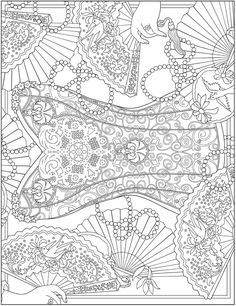 ESCAPES Fashion Art Coloring Book by: Marty Noble - Welcome to Dover Publications - Coloring Page 5