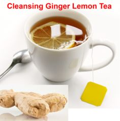 Cleansing ginger lemon tea: In herbal medicine, ginger root promotes the elimination of intestinal gas as well as relaxing and soothing the intestinal tract. Both the lemon and the ginger root are rich sources of antioxidants that inhibit inflammation.