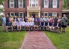 The Loomis Class of 1963 posed for their group photo in front of the Head's House during their 50th reunion! Loomis Chaffee School