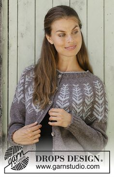 Inner Circle Jacket pattern by DROPS design Crochet Cardigan Pattern, Crochet Jacket, Knit Jacket, Drops Design, Drops Karisma, Fair Isle Pattern, Inner Circle, Work Tops, Jacket Pattern