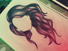 #wavy #hair #drawing #by #me #love #drawing #wine #colour #pink #black #girl #girlish