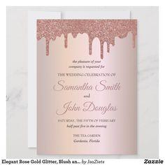 Personalized Elegant Rose Gold Glitter, Blush and Black Text Wedding Bride, Dream Wedding, Pink Music, Rainbow Beach, Rose Gold Glitter, Summer Winter, Beautiful Roses, Baby Showers, Flower Power