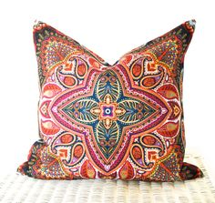 "Bohemian cushion cover hippie pillow cover in multicolour orange purple green 18x18"""