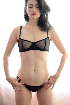 b29fe5c92daa Women Sleepwear & Intimates Bras The Black Satin Bow Insert Sheer Cup  Underwire Black Mesh
