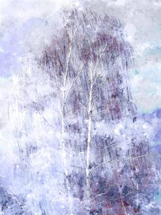 Birch Tree at the First Snowfall - Impressionist Autumn Abstract