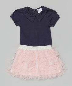 Look what I found on #zulily! Navy & Pink Polo Tiered Ruffle Dress - Toddler & Girls by Blossom Couture #zulilyfinds